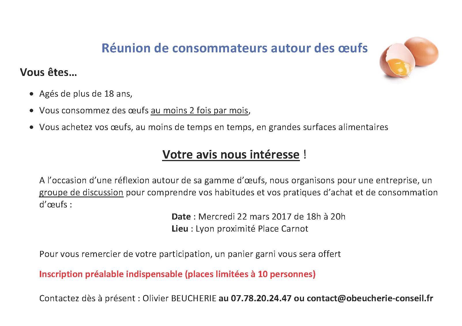 Invitation une runion de consommateurs Lyon Olivier BEUCHERIE
